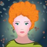 För skönhetkvinna för rödhårig man ung stående Arkivbild