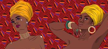 För skönhetkvinnor för afrikansk amerikan svart stående stock illustrationer