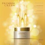 För skönhetsmedelkräm för guld- olja annonser för omsorg för hud För illustrationvektor för mall 3d realistisk illustration moist Royaltyfria Foton