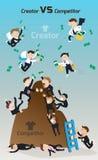 För skapare konkurrent kontra Tecknad filmkonkurrensfördel royaltyfri illustrationer