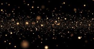 För skenpartiklar för jul som guld- ljus bokeh är loopable på svart bakgrund, år för parti för ferielyckönskanhälsning lyckligt n