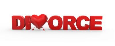 för skilsmässaord för hjärta 3d illustration Royaltyfri Bild