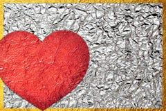 För skinande folie för blad bladbrons för hjärta skinande Arkivfoto