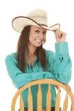För skjortastol för kvinna västra grönt se Royaltyfri Foto