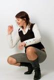 för skjortawhite för gullig rolig flicka skratta barn Arkivfoton