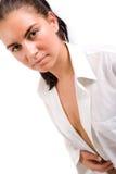 för skjortawhite för stående sexig kvinna arkivfoto