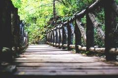 För skoggranskning för bro wood trottoar arkivfoton