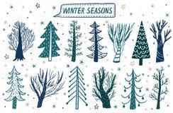 För skogträd för vektor hand dragen uppsättning för vinter Beståndsdelar för designen av sörjer, granen, träd Klottra stil royaltyfri illustrationer