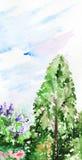 För skogträdgård för vattenfärg wood natur för blommor för träd Fotografering för Bildbyråer