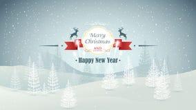 För skogvinter för glad jul och för lyckligt nytt år landskap med snöfall- och fyrverkerivektorn Arkivfoton