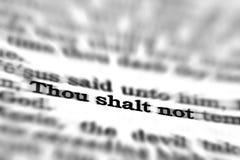 För Skriftencitationstecken för ny testament Thou Shalt inte Royaltyfria Bilder