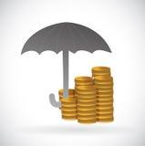 För skyddsillustration för paraply monetär design Fotografering för Bildbyråer