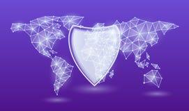 För skyddsreglering för general data EU, på en neonvärldskartabakgrund också vektor för coreldrawillustration royaltyfri illustrationer