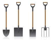 För skyffel- och högaffelvektor för trädgårds- hjälpmedel illustrati Royaltyfria Foton