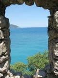 för slott för kalkonsikt ut panorama- fönster Royaltyfri Foto