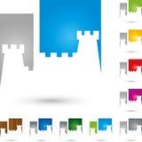 För slottfastighet för torn slott färgad logo stock illustrationer