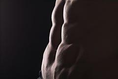 För slut perfekt abs upp Sexig muskulös manlig torso sex packar Arkivbilder
