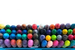 För slut uppsättning upp överst av färgpennor Arkivfoto