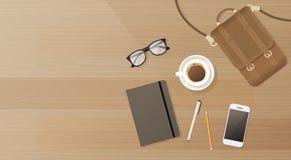 För Smart för arbetsplatsskrivbordcell utrymme för kopia för sikt för bästa vinkel för kaffe för resväska för anteckningsbok tele royaltyfri illustrationer