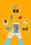 För Smart för handhållcell begrepp för blogg telefon videopn stock illustrationer