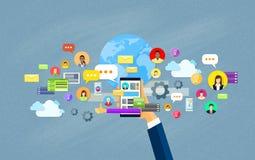 För Smart för handhållcell begrepp för kommunikation för nätverk telefon socialt stock illustrationer