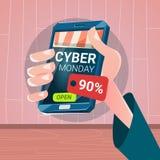 För Smart för handhållcell måndag stor Sale för Cyber telefon shopping royaltyfri illustrationer