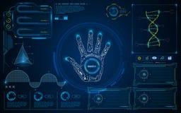 För smart intelligent UI HUD bakgrund för begrepp manöverenhetsskärm för abstrakt begrepp framtida Arkivbilder