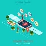 För smart isometriskt infographic klockavektor för kondition: kör smartwatch Royaltyfri Bild