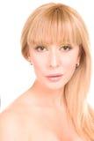 för sminkwhite för bakgrund härlig kvinna Royaltyfria Foton