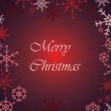 För snöflinga för glad jul rött kort Fotografering för Bildbyråer