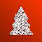 För snöflingajul för vektor modernt träd Arkivbilder
