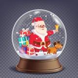 För snöjordklot för Xmas tom vektor Santa Claus Ringing Bell And Smiling Beståndsdel för vinterjuldesign Glass sfär på A Arkivfoto