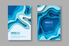 för snittlodlinje för papper 3d baner Former med skugga i olika blått färgar signaler Papercraft varvade konst Design för Arkivbild