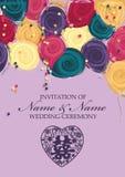 För snittstil för kinesiskt papper mall för kort för inbjudan för bröllop Royaltyfri Foto