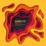 för snittstil för papper 3d bakgrund Former med skugga i höstfärger - guling, apelsin, burgundy och violet Design för Arkivbilder