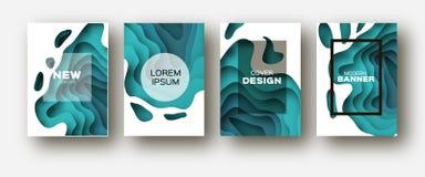 För snittvåg för blått papper former Den i lager kurvorigamin planlägger för affärspresentationer, reklamblad, affischer Uppsättn stock illustrationer