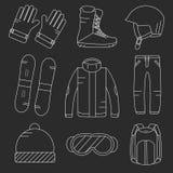 För snowboardutrustning för vektor linjär uppsättning för symboler Royaltyfria Bilder