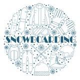 För snowboardutrustning för vektor linjär uppsättning för symboler Arkivbilder