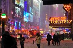 för snowstorm för 42 nyc gata Fotografering för Bildbyråer