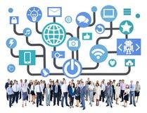 För social online-begrepp nätverkandeaffär för globala kommunikationer Arkivfoton