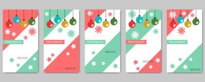 För sociala mallar för vektor nätverksberättelser för jul och för nytt år redigerbara vektor illustrationer