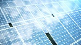 för solenergiutveckling för tolkning 3D teknologi alternativ energi Enheter för panel för sol- batteri med blå himmel lager videofilmer