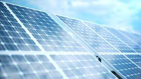 för solenergiutveckling för tolkning 3D teknologi alternativ energi Enheter för panel för sol- batteri med blå himmel arkivfilmer