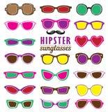 För solglasögonvektor för Hipsters färgrik uppsättning Royaltyfri Bild