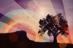 för solnedgångtree för illustration ensam vektor Royaltyfria Bilder
