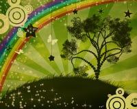 för solnedgångtree för illustration ensam vektor Royaltyfri Foto