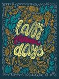 För sommardagar för vektor lat illustration för typografi i grönt, gult, apelsin, röda färger retro kalligrafibokstäveraffisch stock illustrationer
