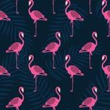För sommarmodell för härlig vektor blom- bakgrund med flamingo stock illustrationer