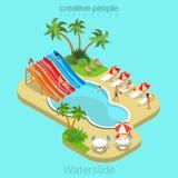 För sommarsemester för Waterslide 3d isometriskt begrepp för lägenhet för vektor royaltyfri illustrationer