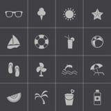 För sommarsymboler för vektor svart uppsättning Royaltyfria Bilder